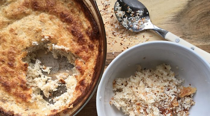 Coconut baked rice pudding